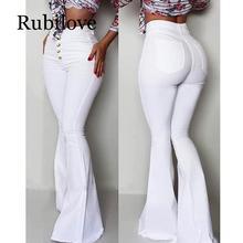 Rubilove 2019 Fashion Buttoned Bell-Bottom High Waist Pants Women Solid slim fit white flare pants Summer Elegant workwear