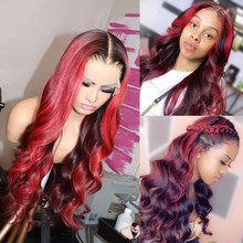 Loose Wave Ombre 99J Lace Front Human Hair Wigs 180% Wavy Remy Hair 1B/Burgundy Highlights Lace Wig 8-26