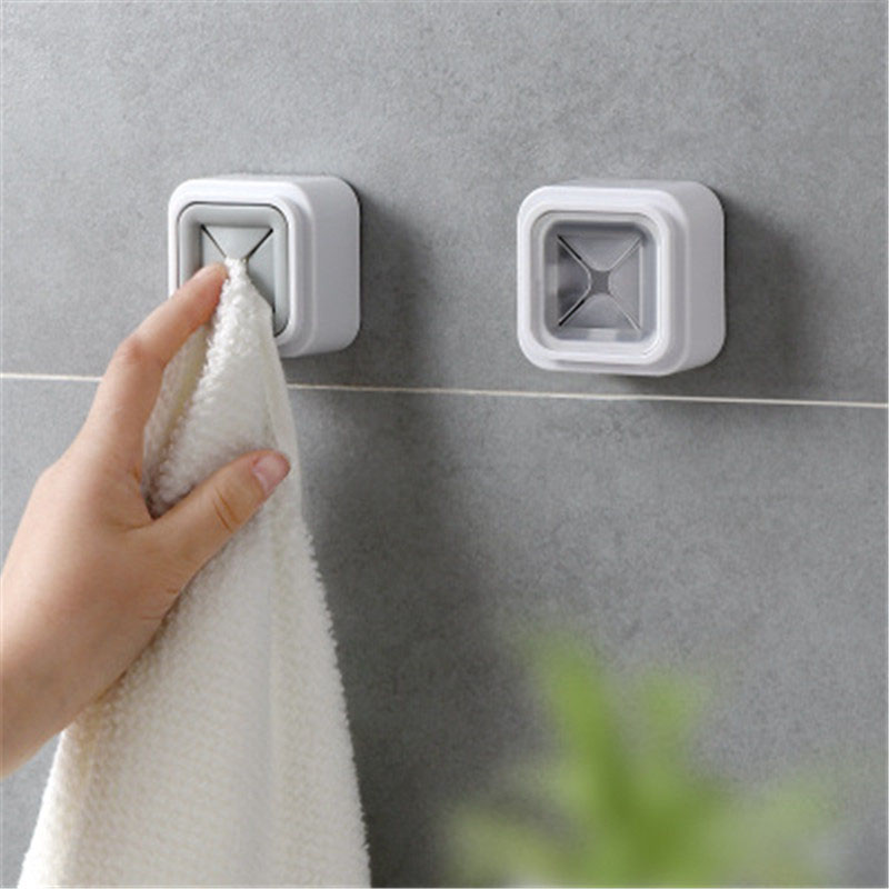 Creative Bathroom Towel Hooks Stick Wall Mounted Towel Racks Home Wall Mount Twoel Storage Wash Cloth Clip Organizer Dry Holder