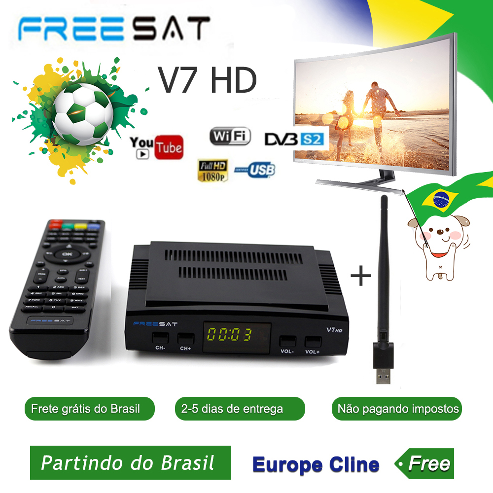 Original Freesat V7 HD GTMEDIA V7S HD Satellite Receiver Full 1080P DVB-S2 HD Support CCcam Newcam Powervu Tv Box Freesat V7