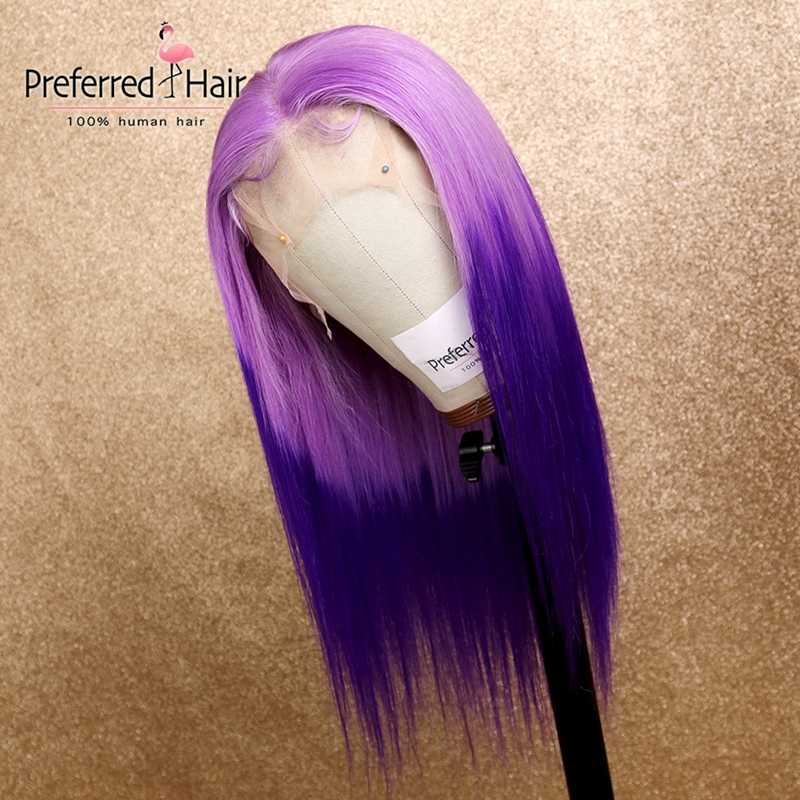 Preferred 13x6 Lace Front Wig Preplucked Brazilian Remy Straight Wig Ombre Pink Purple Lace Front Human Hair Wigs For Women