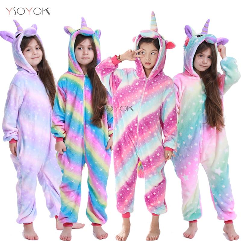 Winter Kigurumi Pajamas Rainbow Unicorn Kids Animal Children Pajamas For Boys Girls Costume Baby Pyjamas Kids Licorne Onesies