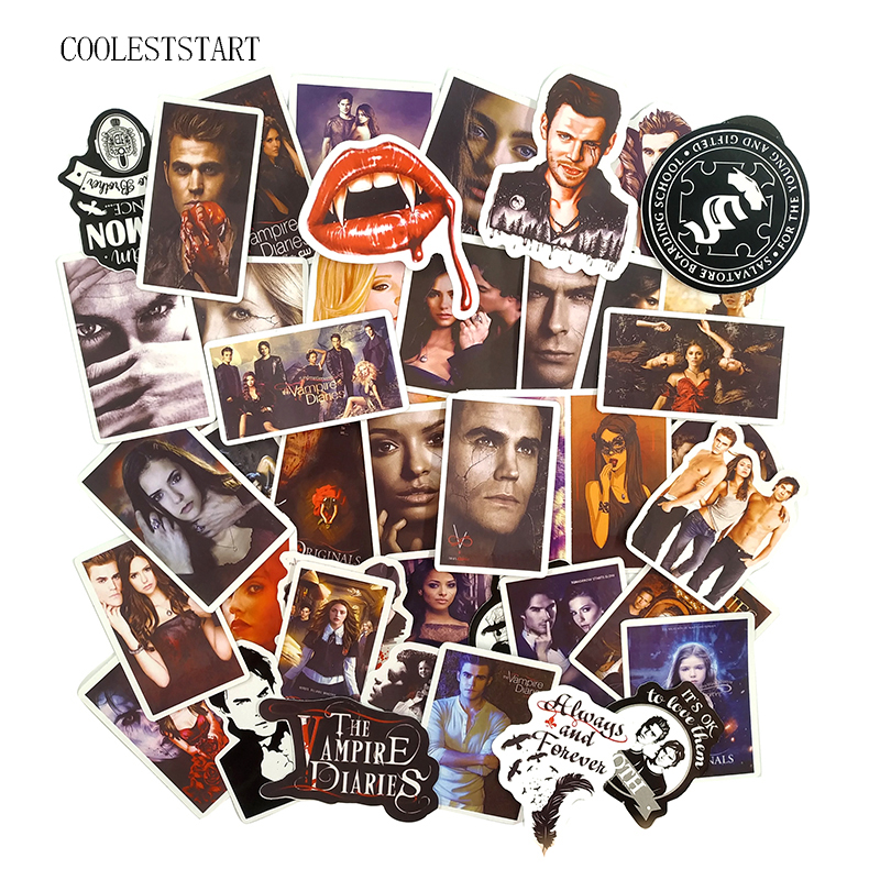 50 Pcs/set The Vampire Diaries Stickers For Motorcycle Phone Skateboards Laptop Luggage Bicycle Travel Toys Stickers