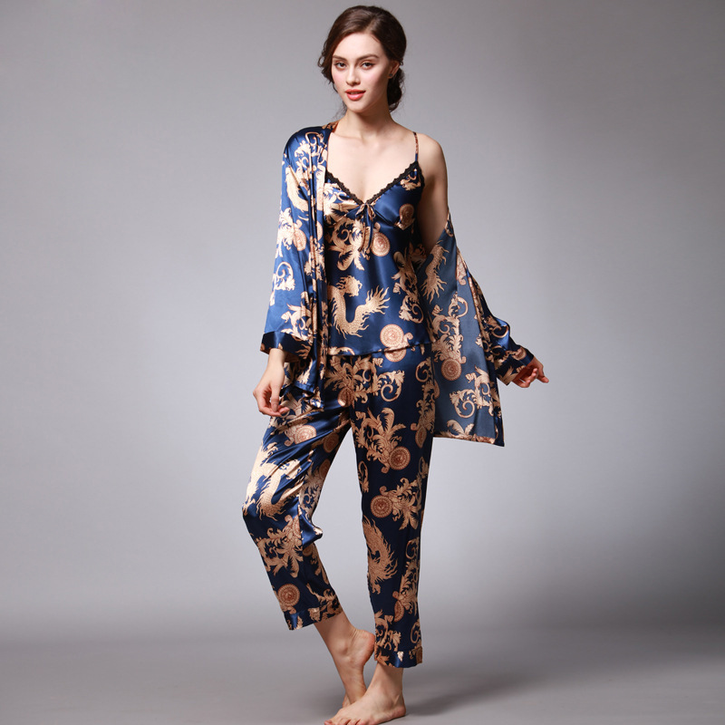 Women's Pajama Set Sleepwear Suit Long-Sleeve Underwear 3 Pieces Loungewear Floral Printing Pyjamas for Ladies Autumn Homewear