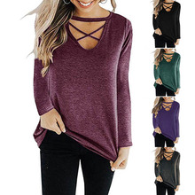 Autumn Women T-Shirt V Neck Long Sleeve Cross Strap Loose Solid Color Casual Cotton Tee Tops Plus Size 3XL