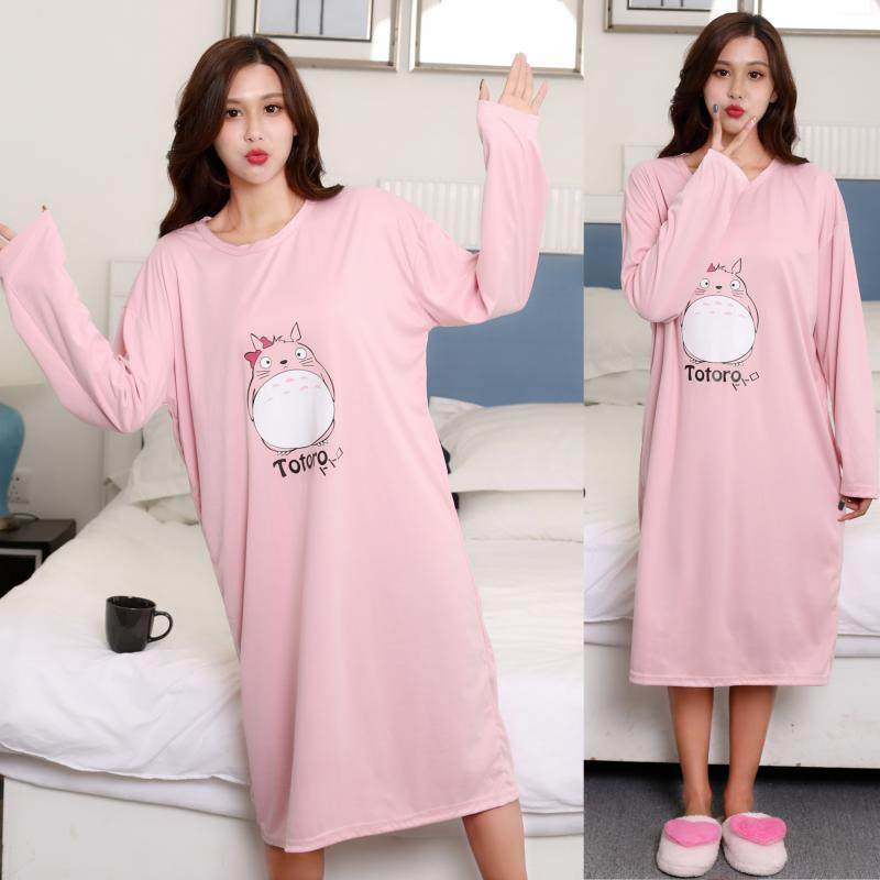 Long Sleeve Nightgown Women's Autumn And Winter Pink Fat Dragon Cat Skirt M-XXL (17) Qmilch Double-Sided Thick-Holiness