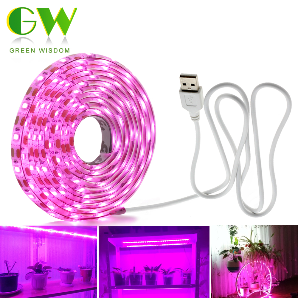 LED Grow Light Spectrumเต็มUSB Grow Light Strip 0.5M 1M 2M 2835 DC5V LED Phytoโคมไฟสำหรับพืชดอกไม้เรือนกระจกHydroponic