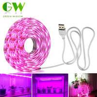 Tira de luz LED de cultivo USB de espectro completo 0,5 m 1m 2m 2835 Chip lámpara LED para plantas invernadero de flores hidropónico