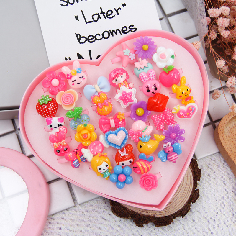 24pcs Cute Cartoon Rings Toys For Baby Girls Toys  Colorful Kids Beauty Fashion Jewellery Rings With Heart Box