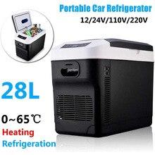 28L Mini Fridges 12/24V Car Home Dual Use Refrigerator Protable Freezer Cooler Heater for  Food Drink 110/220V Outdoor Picnic