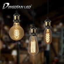 Retro Tungsten Light Bulb E27 Unique Classic Lamp Decoration Glass LED AC220-240V T40 G80 ST64 1700K