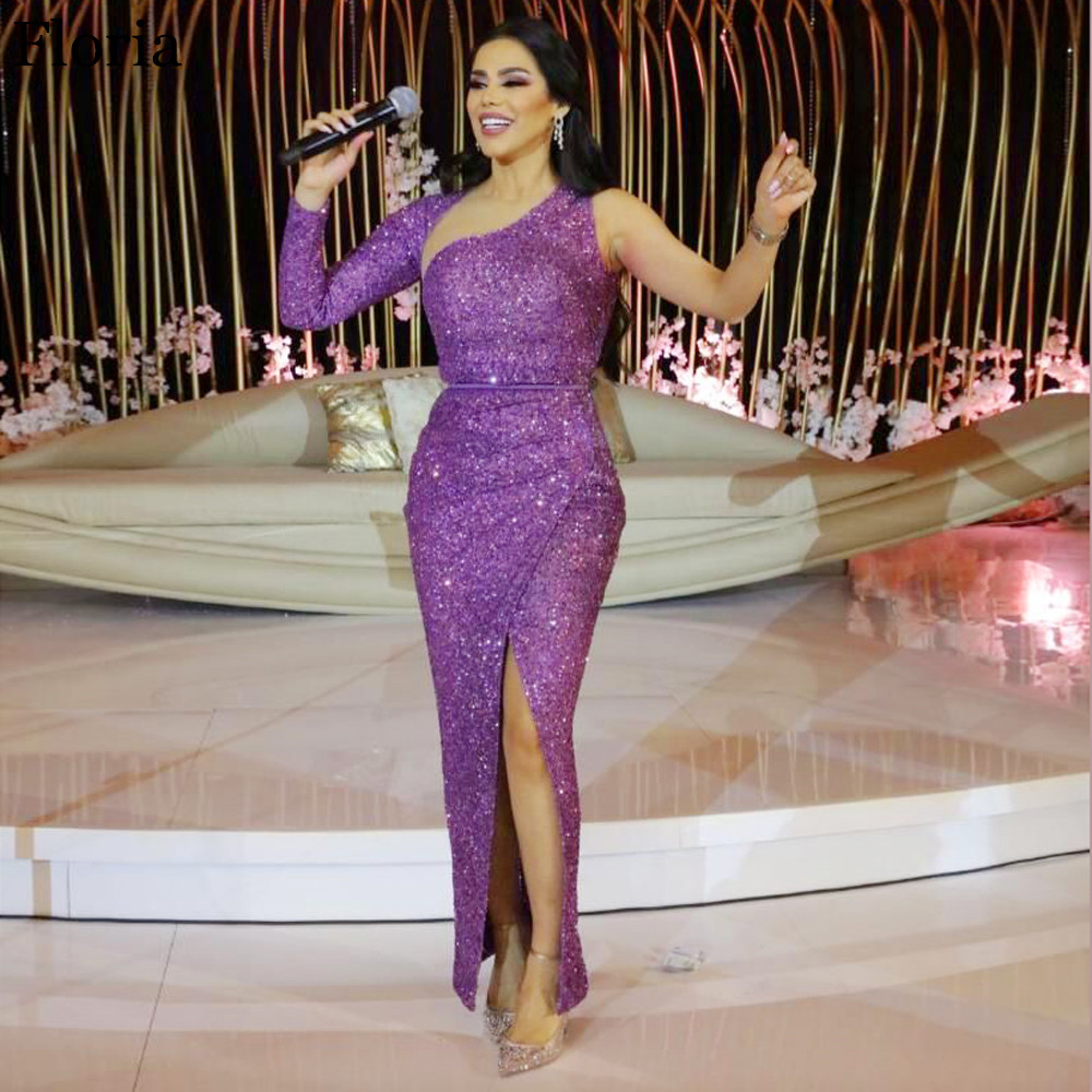 Middle East Purple One Shoulder Cocktail Dress Mermaid Ankle Length Host Dress Dubai Evening Dress With Detachable Tulle Jacket