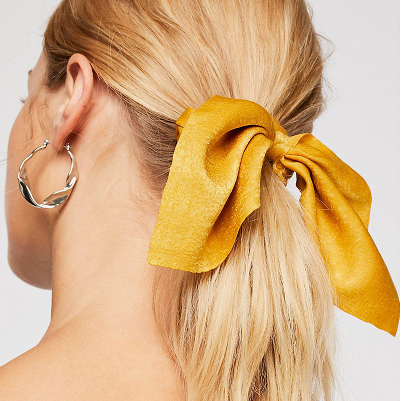 CN Hair Accessories Chiffon Bow-knot Ribbon Scrunchie For Girls Elastic  Riband Intestine Ties Satin Bands Women