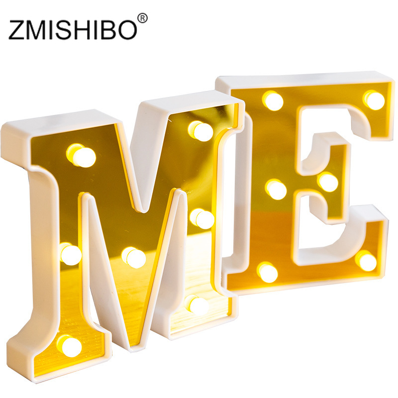 ZMISHIBO Shiny Gold Letter Night Light Marquee Sign Alphabet Letter Lamp Home Club LED Indoor Party Wedding Romantic Decoration