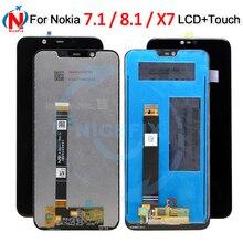 شاشة عرض LCD جديدة لهاتف نوكيا 7.1 + مجموعة رقمية تعمل باللمس ، قطع غيار لهاتف نوكيا 8.1 ، شاشة LCD لهاتف نوكيا x7