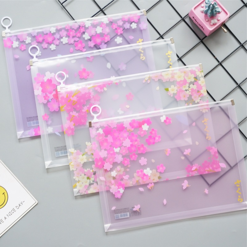 Cherry Blossom Series A4 Transparent Abrasive File Bag Document Bag File Folder Stationery Filing Production