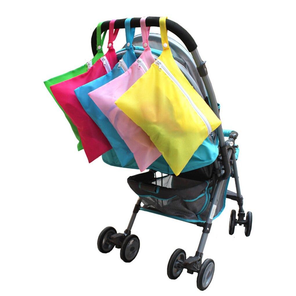 Reusable Baby Diaper Bags Double Zippered Wet/Dry Bag Waterproof Wet Cloth Stroller Hanging Outerdoor Diaper Cover WetBag