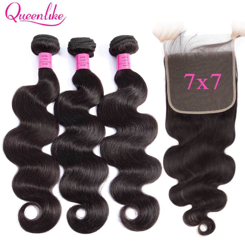 7x7 Lace Closure With Bundles Queenlike Remy Hair Weaving Big Lace Size 3 4 Brazilian Body Wave Human Hair Bundles With Closure-in 3/4 Bundles with Closure from Hair Extensions & Wigs