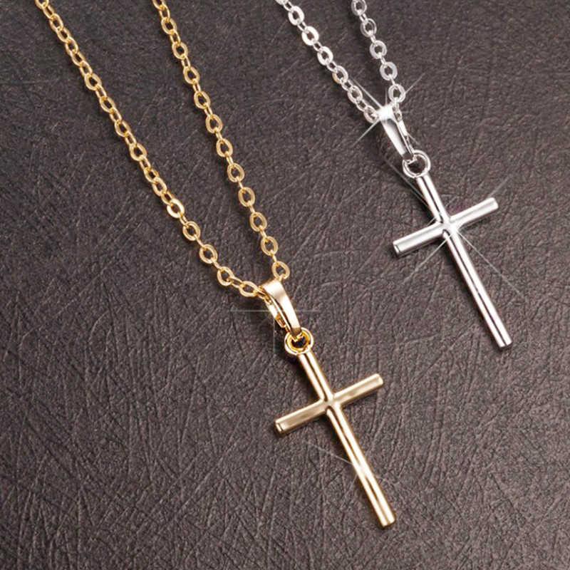 여자를위한 간단한 패션 크로스 체인 목걸이 남자 럭셔리 숙녀 골드 쥬얼리 펜던트 목걸이 십자가 기독교 장식 선물