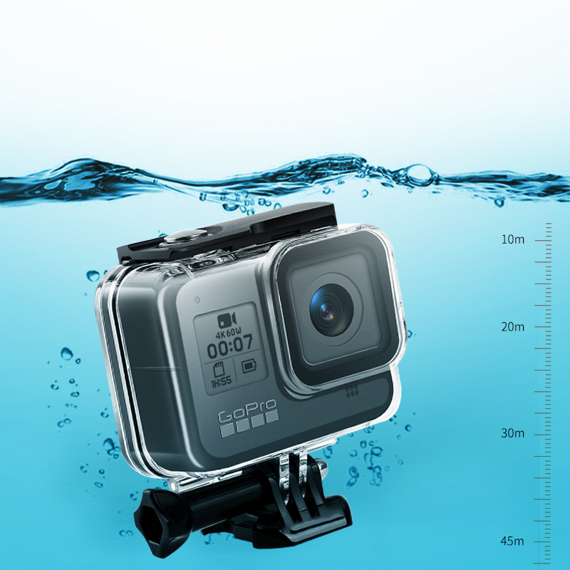 Underwater Waterproof Case For GoPro Hero 8 Protective Shell Cover Housing Diving Swimming Tempered Class Accessories Silicone