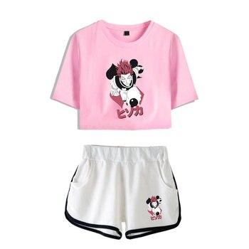 HUNTERxHUNTER High-Quality Fashion Women Two Piece Set Women Summer Short Sleeve Crop Top+Shorts Hisoka Hot Sale Trendy  Clothes