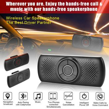 цена на Multipoint Speakerphone 4.1+EDR Wireless Bluetooth Handsfree Car Kit MP3 Music Player for IPhone Android Dropshipping Hot