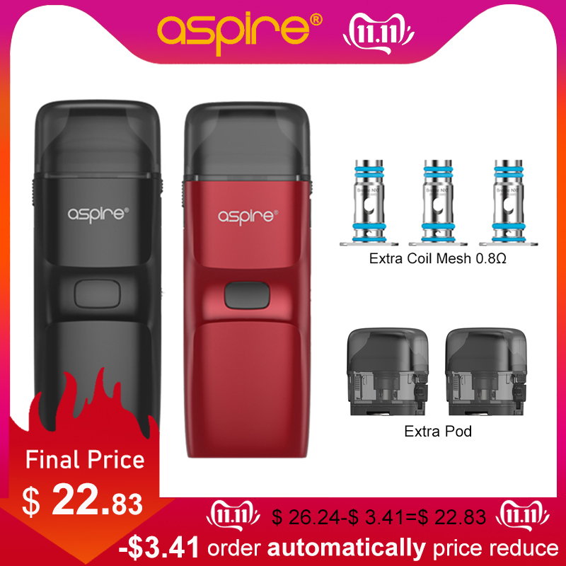 New Pod System Aspire Breeze NXT Kit 1000mAh Battery Electronic Cigarette With 5.4ML Pod Replaceable Coil Mesh 0.8ohm