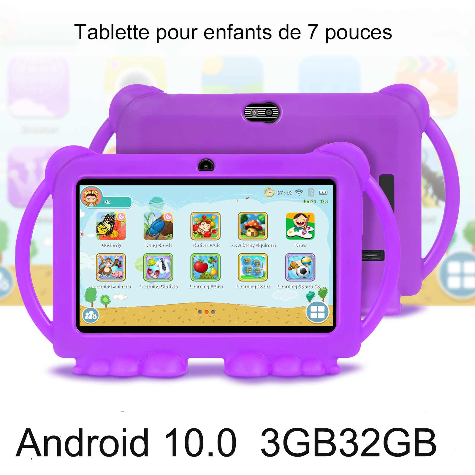 7 inch Children's Learning Tablet Android 10.0 System 3GB 32GB Tablet Computer With Silicone Case USB Quad-core Charging