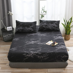 Hot Sale Bed Pad Fitted Sheet Marble Pattern Mattress Cover Protector Dust Covers Slip Queen Single Air Permeable Bed Topper|Mattress Covers & Grippers| |  -