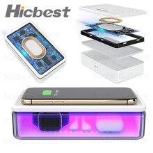 Chargeur sans fil de boîte de désinfectant de lumière UV pour liphone Smartphone étui de désinfectant UV pour le téléphone portable iPhone 11 Pro masques cosmétiques