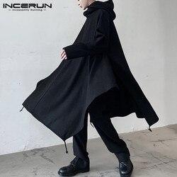 INCERUN Men Cloak Solid Color Irregular Coats Loose Hooded Long Sleeve Ponchos Turtleneck Trench Fashion Streetwear Mens Jackets