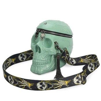 3D Lustige Skeleton Kopf Schwarz Schulter Crossbones Messenger Tasche Männer Frauen Straße Satchel Paket Schädel Handtaschen Punk Tasche Dropship