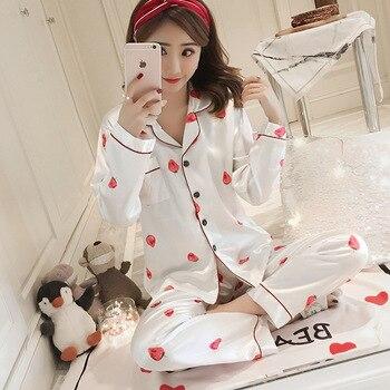 Women Plus Size pajamas Spring and Autumn Long-Sleeved Silk-like Printed Cardigan Homewear Set Woman Clothes Sexy Pajamas
