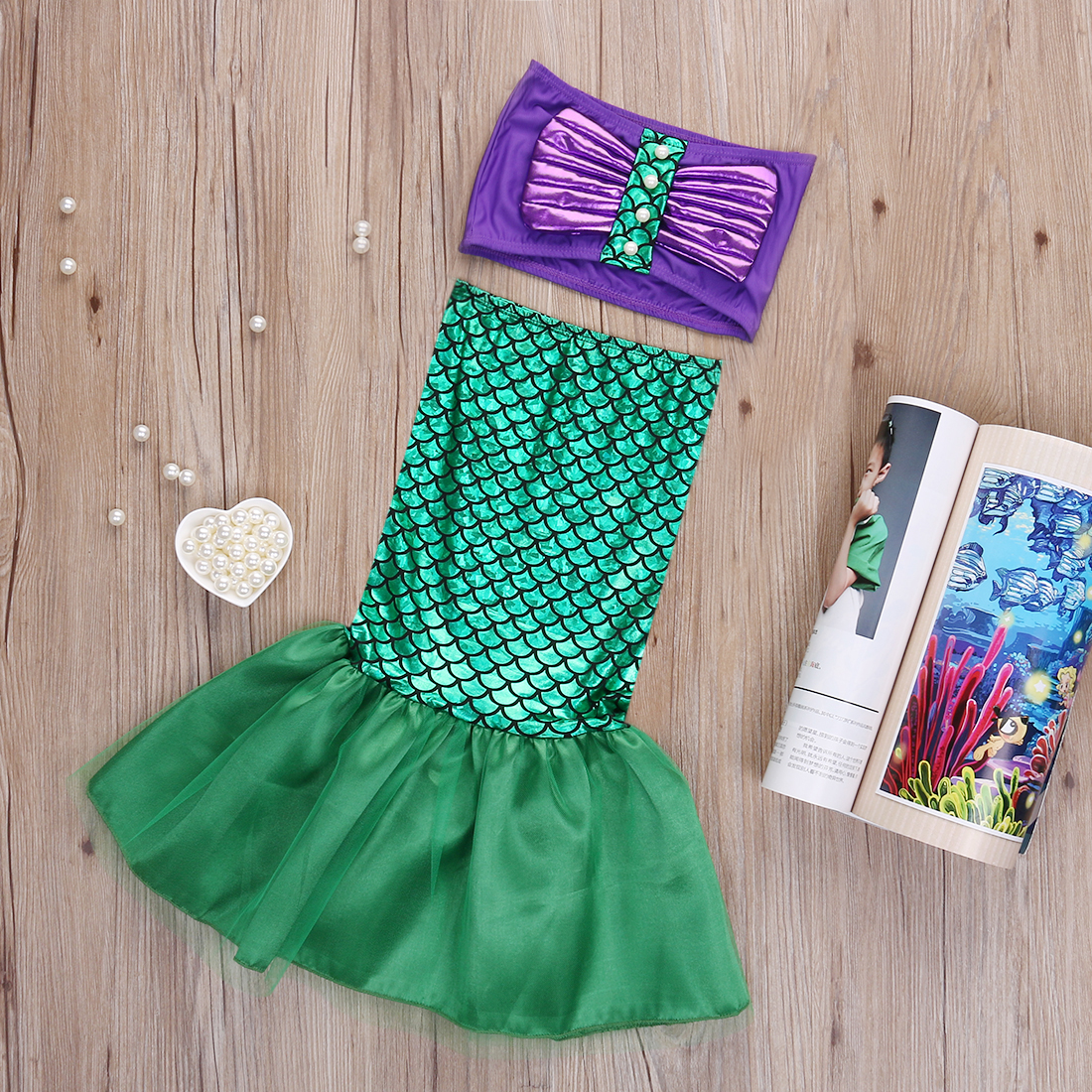Kids Baby Girl Mermaid Tail Princess Ariel Dress Cosplay Costume Fancy Green Dress Baby Girl Clothes