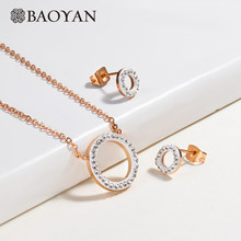 Baoyan Vintage Cubic Zirconia Wedding Jewelry Sets Wholesale Custome Jewelry Loop Circle Stainless Steel Jewelry Sets For Women(China)