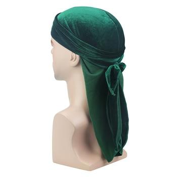 Velvet Long Tail Durag Men Turban Women Chemo Cap Breathable Bandana Hat Unisex Headwarp Elastic Indian Bonnet High Quality