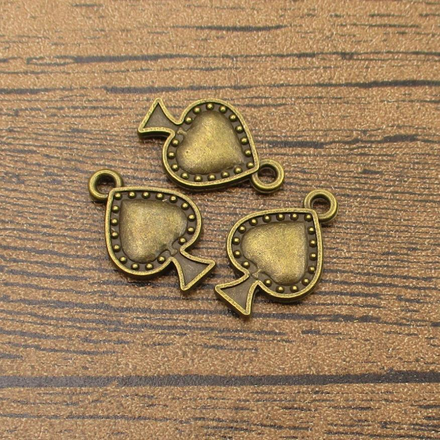 10 Pcs 20x12MM Playing Card Charm Double Side Antique Bronze Tone Zinc Alloy Metal Charm 110431-3143