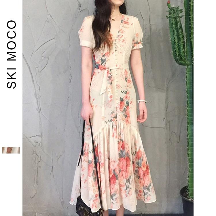 Floral Print Beach Dress 2019 Tie Waist Floral Bardot Chiffon Summer Short Sleeve Dress Female Ruffle