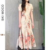 Floral Print Beach Dress 2019 Tie Waist Floral Bardot Chiffon Summer Short Sleeve Dress Female Ruffle Belted Dresses