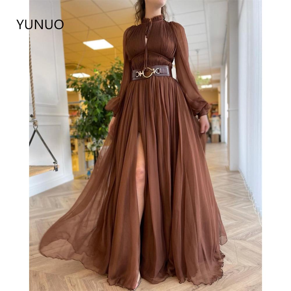 HONGFUYU Floor Length Chiffon Formal Evening Dresses вечерние платья O-neck Long Sleeve Prom Party Gowns Side Split Custom Made
