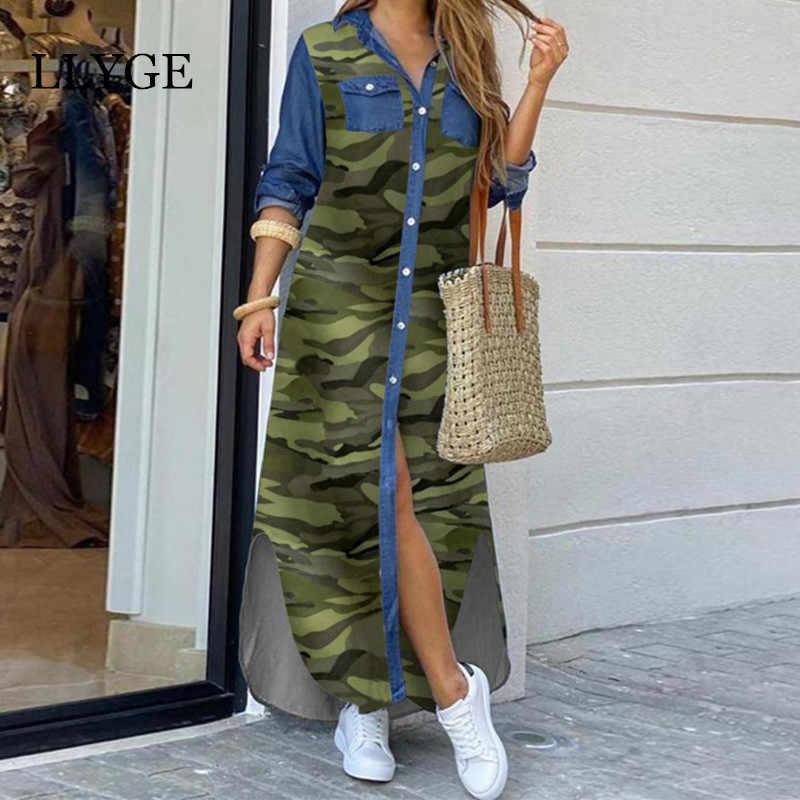 Brief Camouflage Gedruckt Lange Kleid Frauen Split Langarm Casual Lose Weibliche Maxi Kleider Sommer 2020 Mode Dame Vestidos