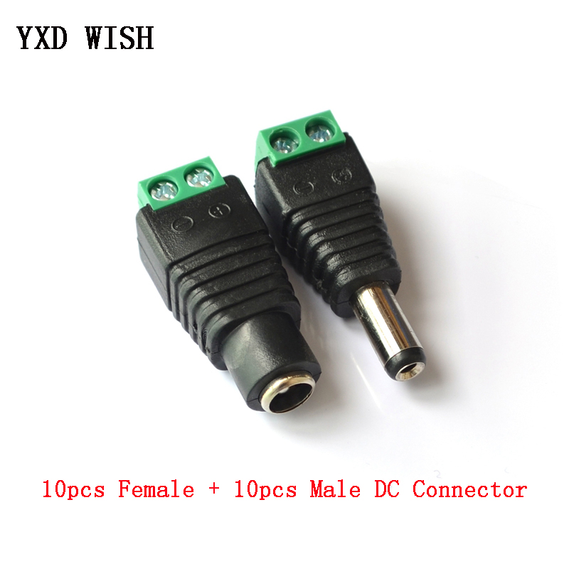 10pcs Female + 10 pcs Male DC Connector 2.1*5.5mm Power Jack Adapter Plug Cable Connectors For 3528/5050/5730 led strip light