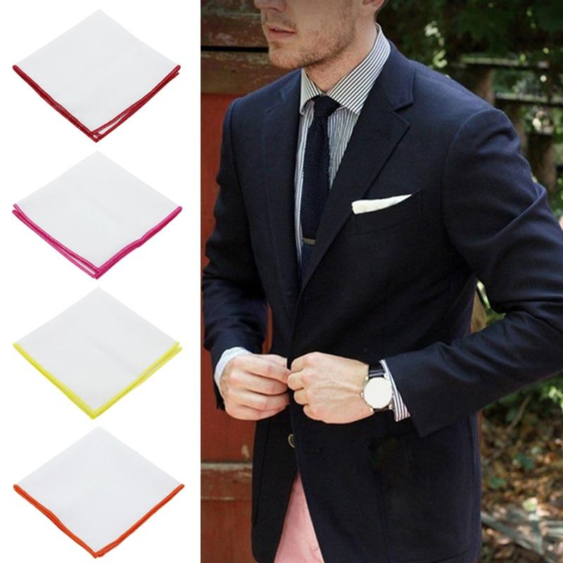23cmx23cm Mens Cotton White Handkerchief Colorful Rim Pocket Square For Men Women Party Wedding Groom Suits Pocket Hankies
