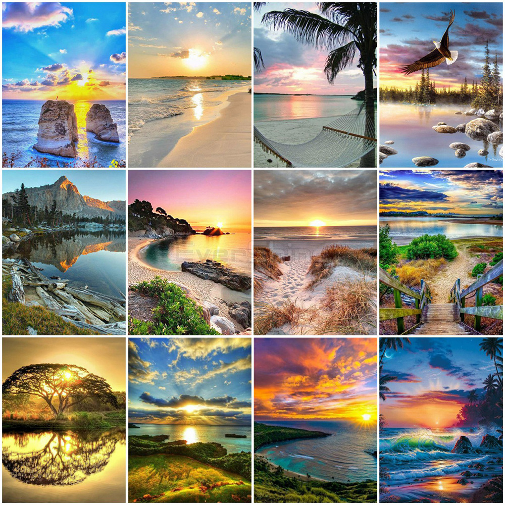 EverShine DIY Painting By Numbers Seascape Hand Painted Drawing Canvas Wall Art Landscape Home Decoration