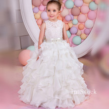 Newly Princess Lace Flower Girl Dresses 2019 Long Sleeves Floor Length Tulle Pageant Dresses First Communion Dresses 2019 hot sale off shoulder lace tulle flower girl dresses with sleeves floor length white holy first communion dresses ball gown