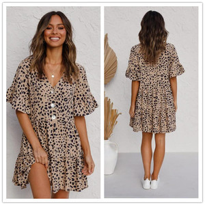 Women Summer Dress 2020 European Hot Selling New Leopard Print Floral Printed Dresses Vestidos Dropshipping LBD887