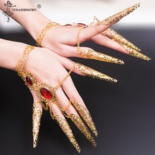 2pc Indian Thai Golden Finger Jewelry For Belly Dance Dancing Finger Cot Costume New