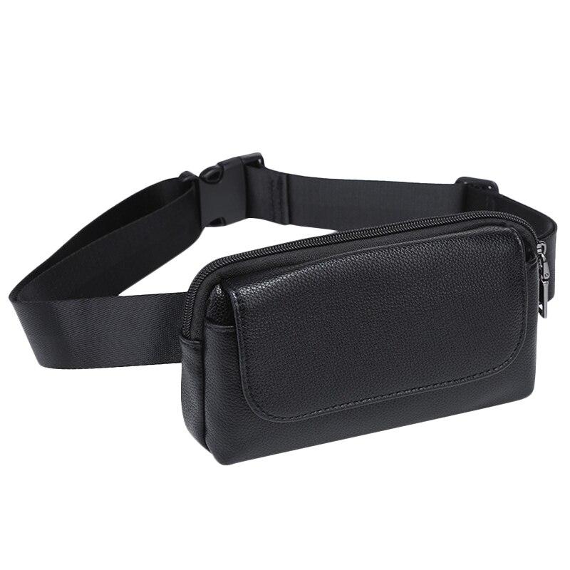 Women Waist Bag Black Pu Leather Fanny Pack Double Pocket Waist Pack For Women Small Phone Bag Girls Bag Purse