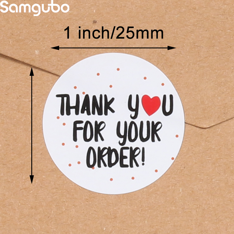 500Pcs/Roll  Thank You Stickers Handmade Sticker Circle Stationery thank you for your order Gift Seal Labels thank you sticker 3