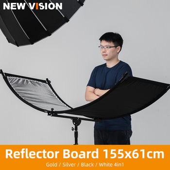 W kształcie litery U typu 155*61cm 4in1 srebrny czarny biały złoty reflektor dyfuzory składany oświetlenie fotograficzne odblaskowy ekran tanie i dobre opinie AMBITFUL CN (pochodzenie) U-type Reflector Diffuers Rectangle